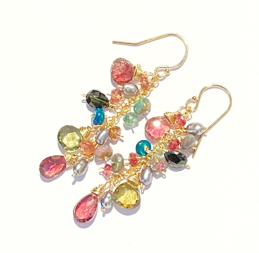 Black Opal and Pink Green Tourmaline Dangle Earrings Gold