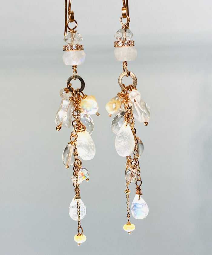 Rose Gold Long Boho Moonstone Dangle Earrings - doolittlejewelry