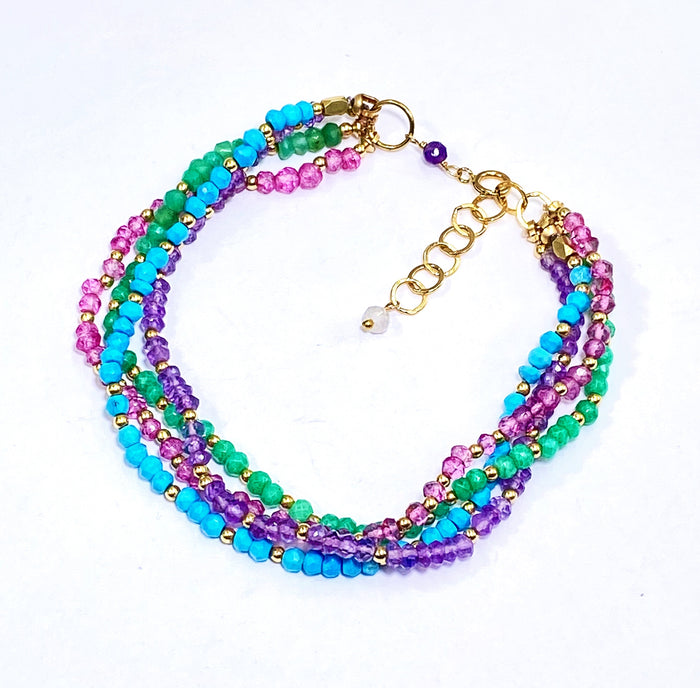 Multi-strand Gemstone Dainty and Gemstone Beaded Bracelet