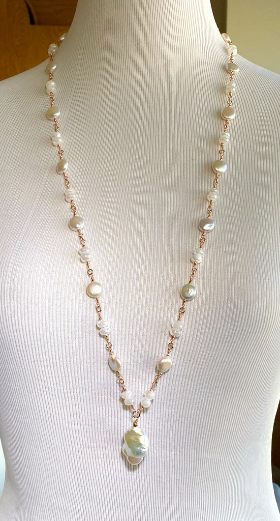 Rose Gold Ivory Baroque Pearl Mystic Moonstone Long Sautoir Rosary Necklace