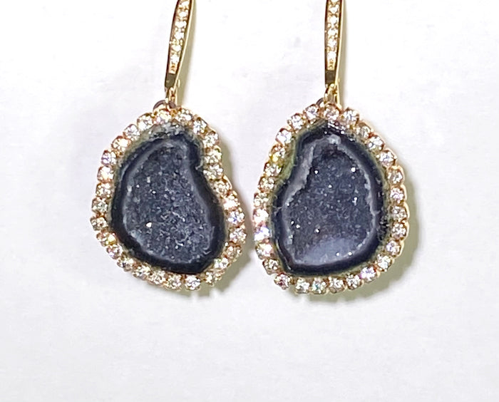 Black Tabasco Geode Druzy Slice Earrings