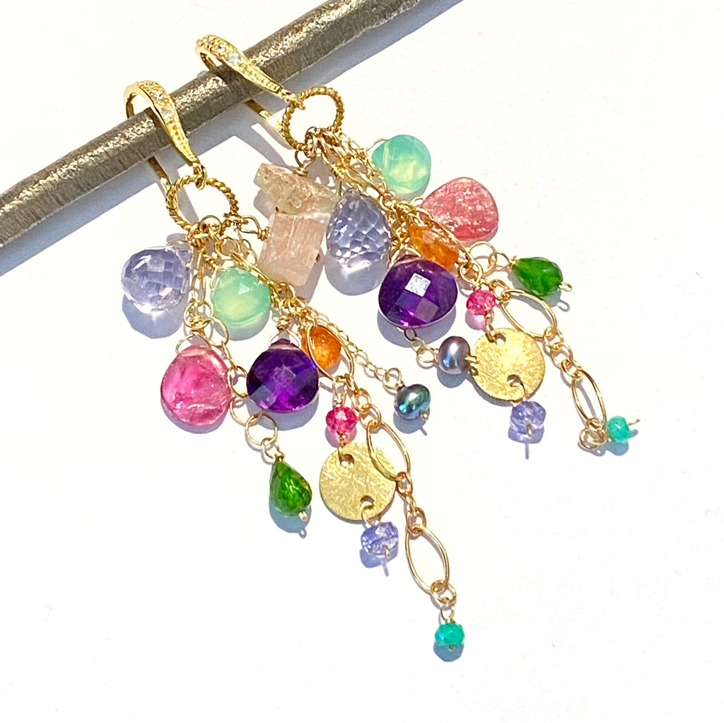 Pink Tourmaline Slice and Colorful Gemstone Dangle Earrings Gold Fill
