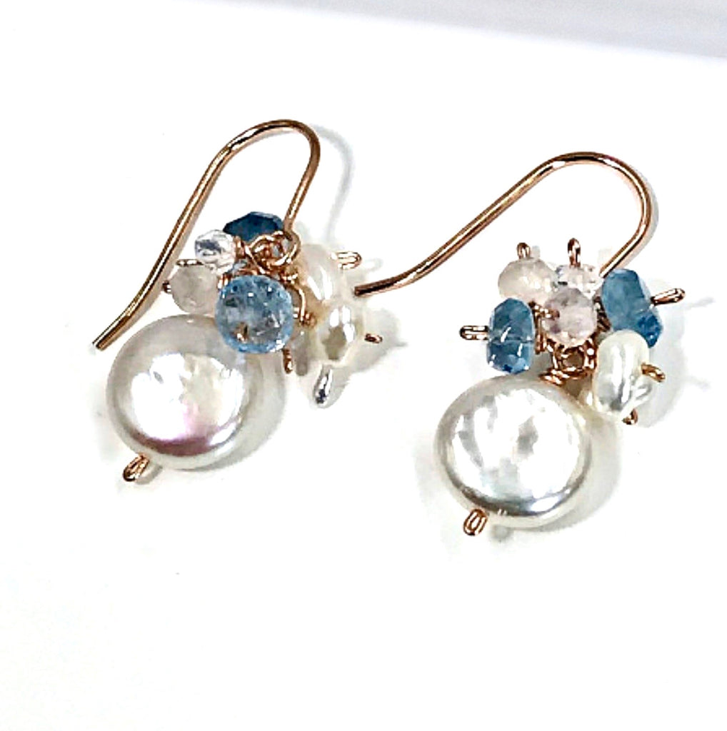 Coin Pearl and Aquamarine Cluster Earrings Rose Gold Minimalist - doolittlejewelry