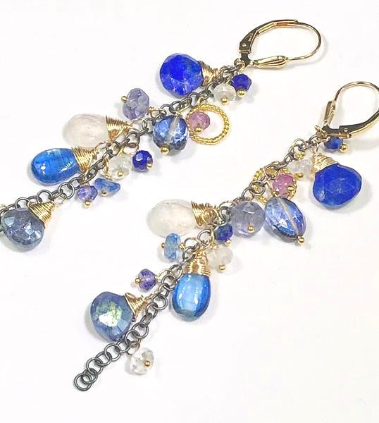 Blue Dangle Earrings Lapis Kyanite Mixed Metals - doolittlejewelry
