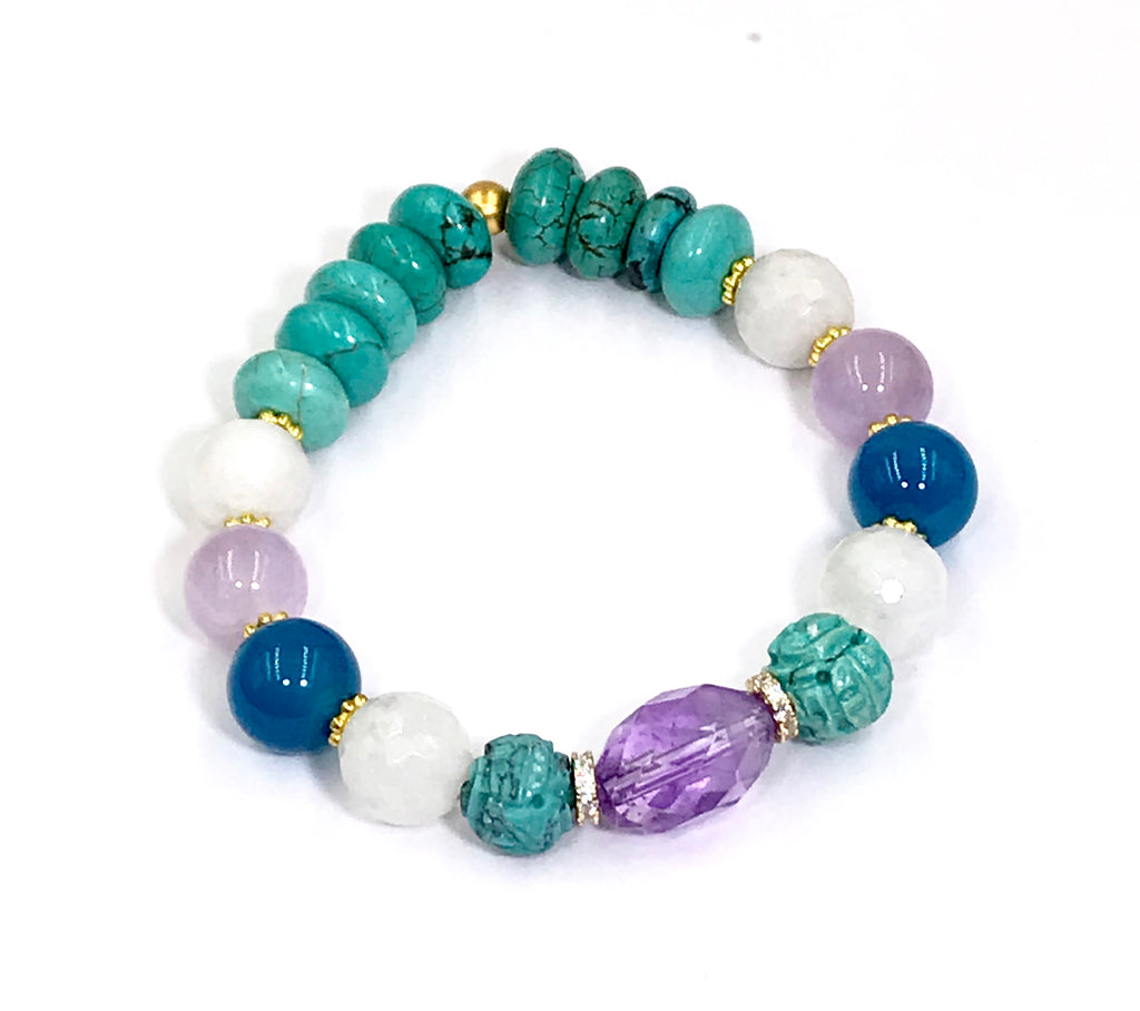 Turquoise, Amethyst, Moonstone Stretch Stack Bracelet Set of 4 - doolittlejewelry