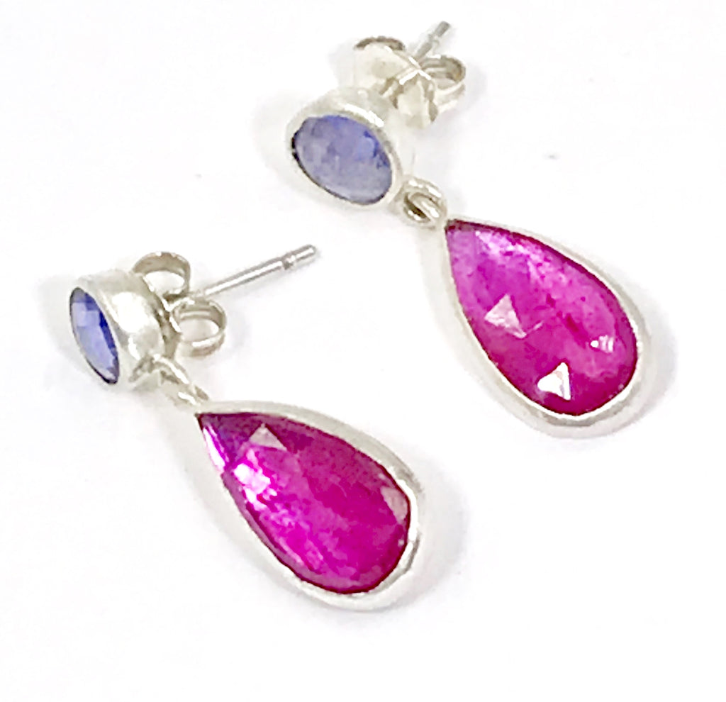 Ruby and Tanzanite Sterling Silver Post Earrings