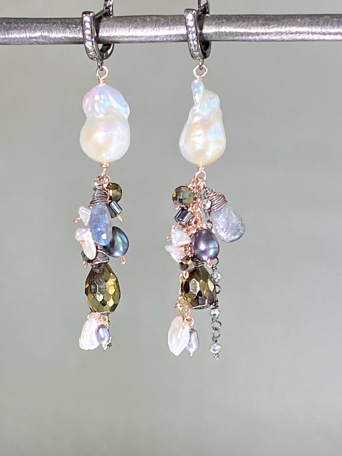 Baroque Pearl Mixed Metal Rose Gold Oxidized Silver Labradorite Dangle Earrings
