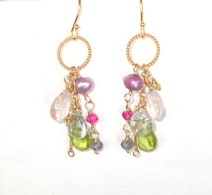 Pastel Peridot Rose Quartz Dangle Earrings Gold Fill