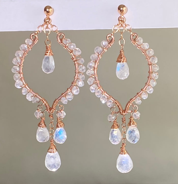 Rose Gold Hoop Earrings Rainbow Moonstone Mystic Crystal