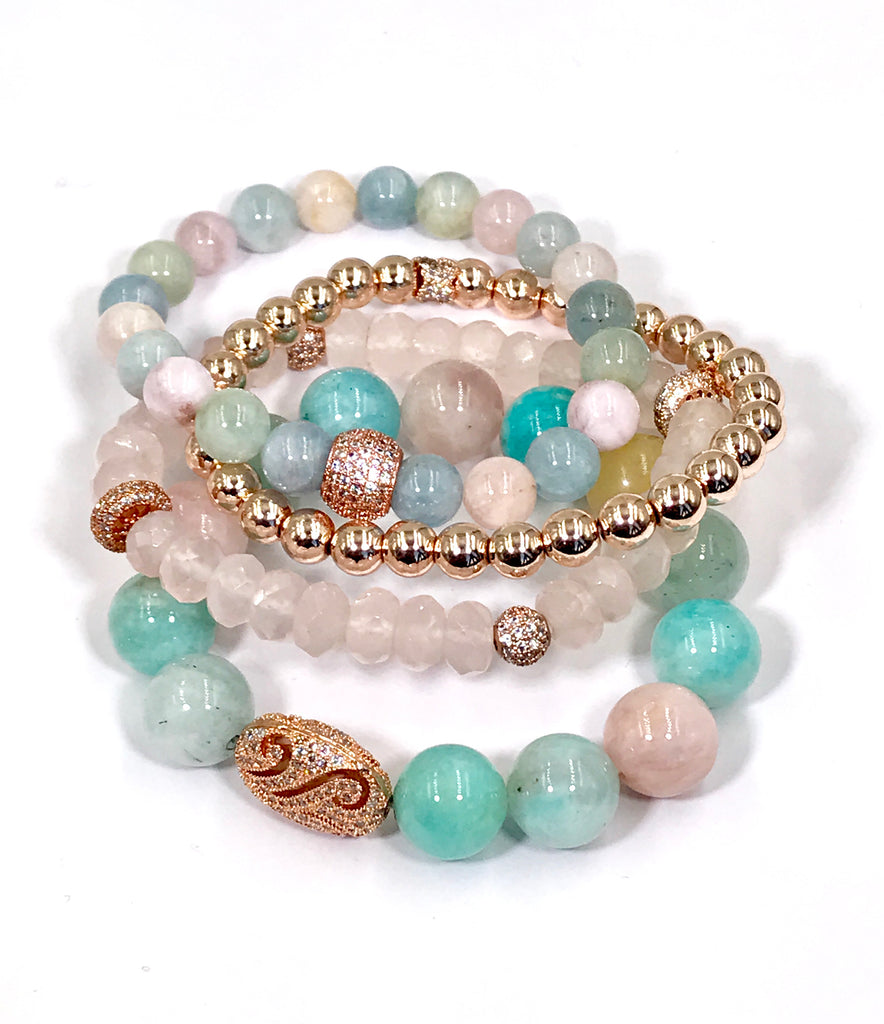 Rose Gold Pave CZ and Aquamarine, Amazonite Stretch Bracelet - doolittlejewelry