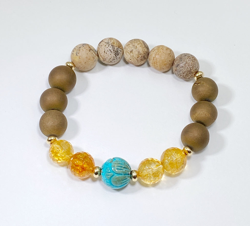 Set of Three Earth Tones Turquoise Stretch Bracelets