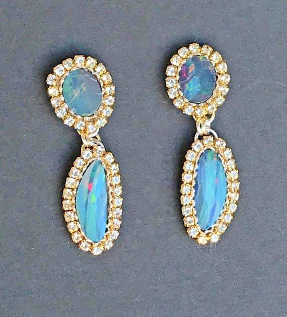 Lightning Ridge Opal Double Dangle Earrings