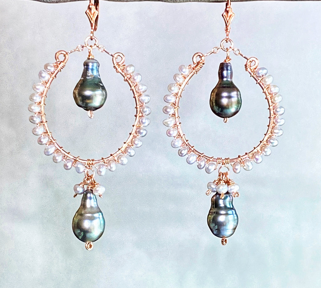 Statement Rose Gold Hoop Earrings with Tahitian Pearl Drops