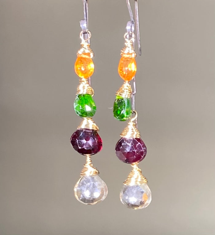 Multi Gemstone Dangle Earrings Mixed Metal Garnet Chrome Diopside
