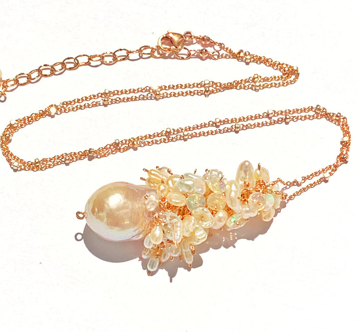 Blush Baroque Pearl Opal Cluster Pendant in Rose Gold