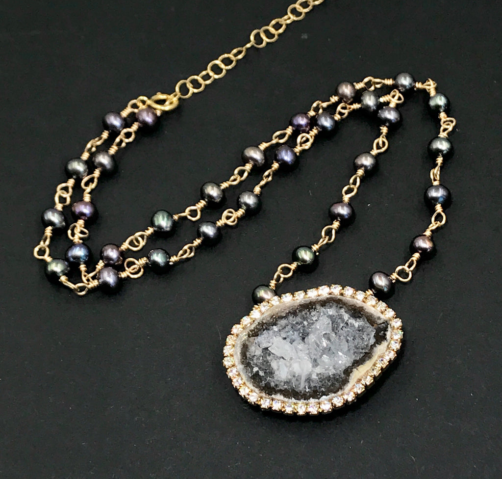 Tabasco Geode and Pearl Necklace Wire Wrap Rosary Style - doolittlejewelry