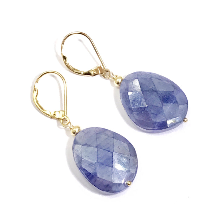 Mystic Blue Sapphire Slice Earrings Gold Fill