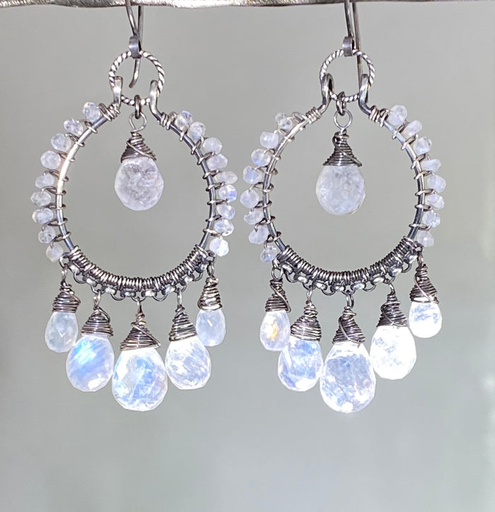 Rainbow Moonstone Oxidized Sterling Silver Hoop Earrings