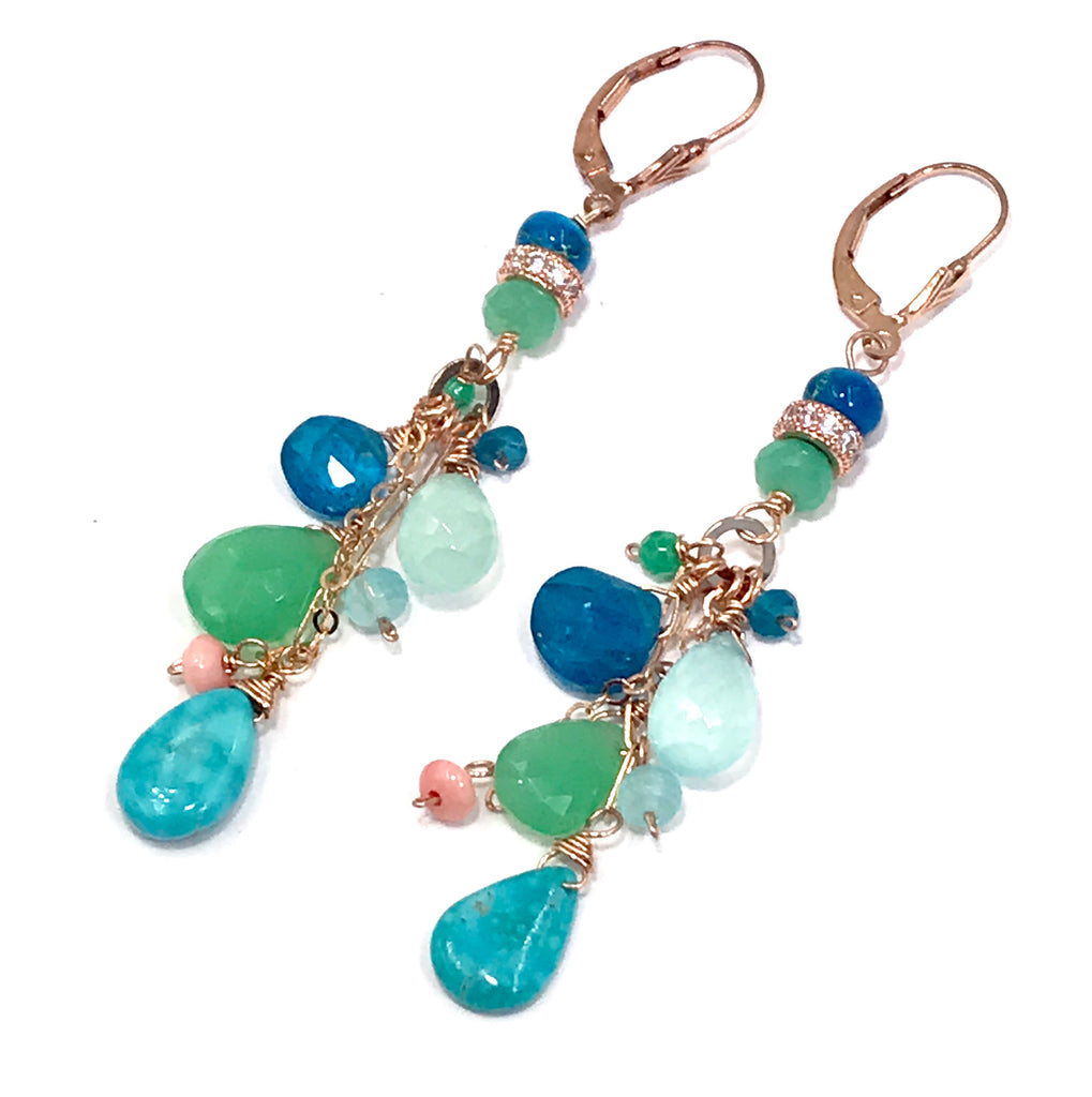 RESERVED - Rose Gold, Turquoise, Aqua, Chrysoprase Long Dangle Earrings - doolittlejewelry