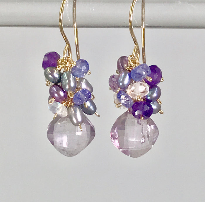 Amethyst Cluster Earrings with Peacock Pearls, Tanzanite, Moonstone, Gold - doolittlejewelry