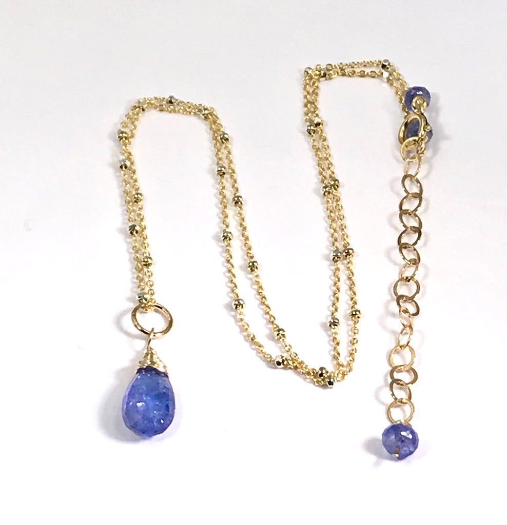Tanzanite Layering Necklace Dainty Pendant Gold Fill - doolittlejewelry