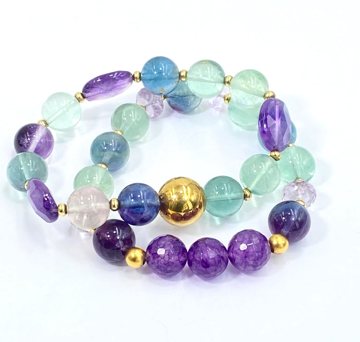 Fluorite Gemstone Stretch Stack Bracelet Set of 2