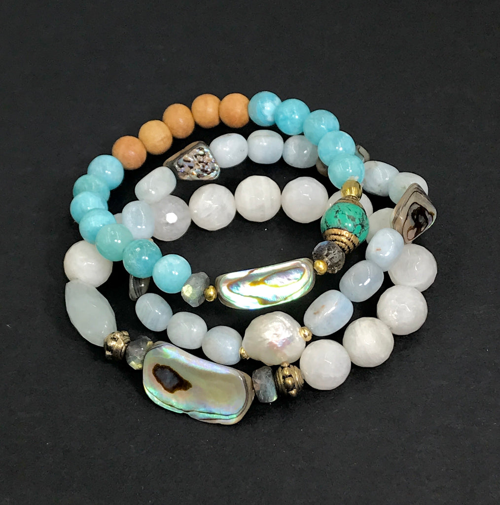 Abalone Beach Boho Stretch Bracelet Set of 3 - doolittlejewelry