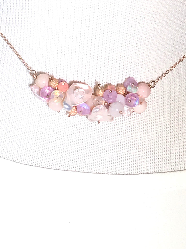 CUSTOM ORDER for MJ - Blush Keishi Pearl Opal Moonstone Bar Necklace - doolittlejewelry