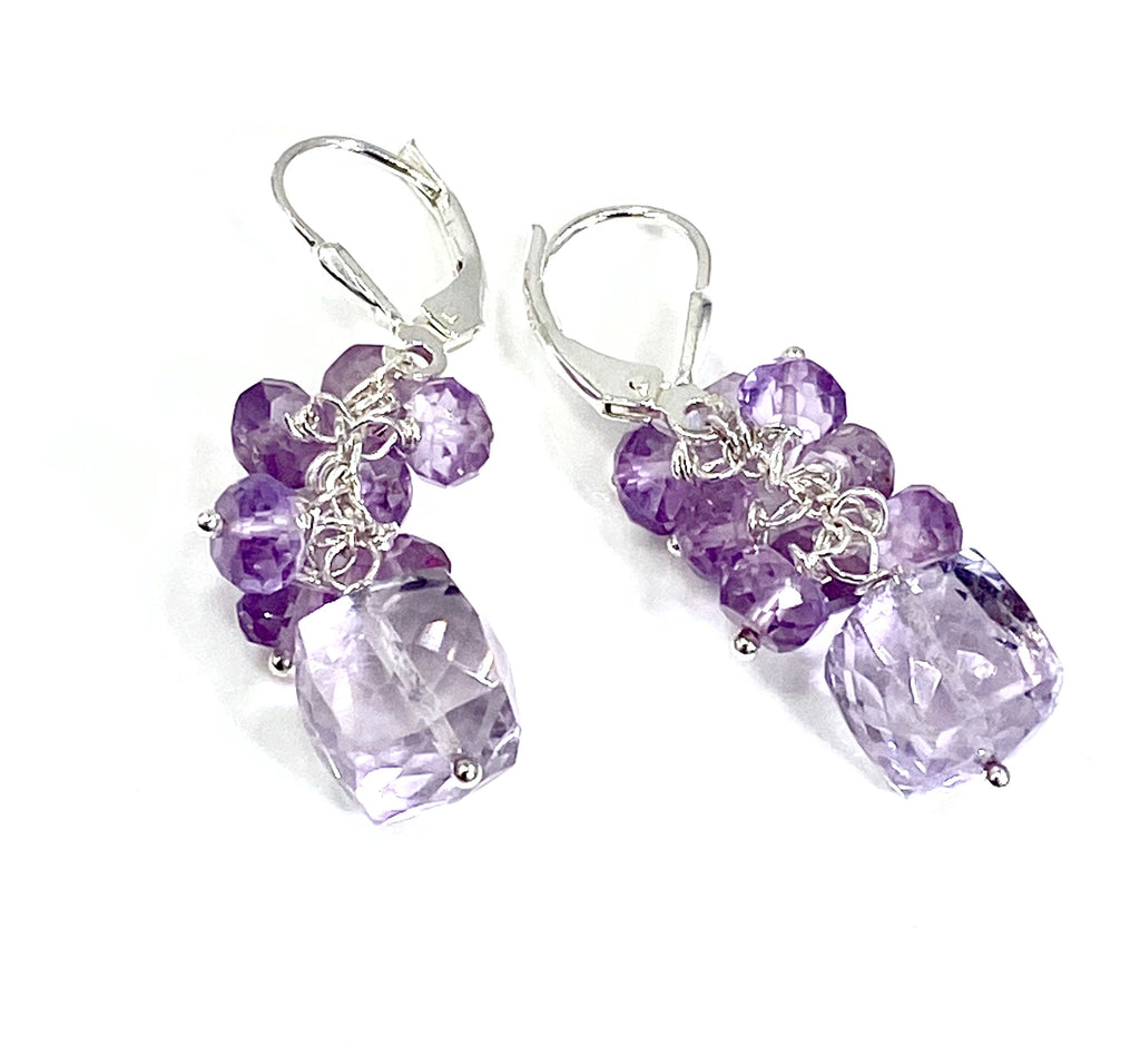 Pink Amethyst Cube Gemstone Cluster Earrings Sterling Silver