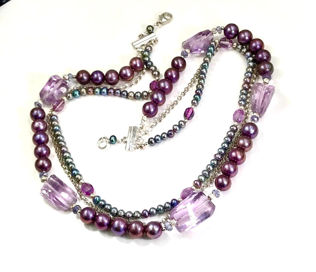 Amethyst and Pearl Multi-Strand Triple Strand Necklace - doolittlejewelry