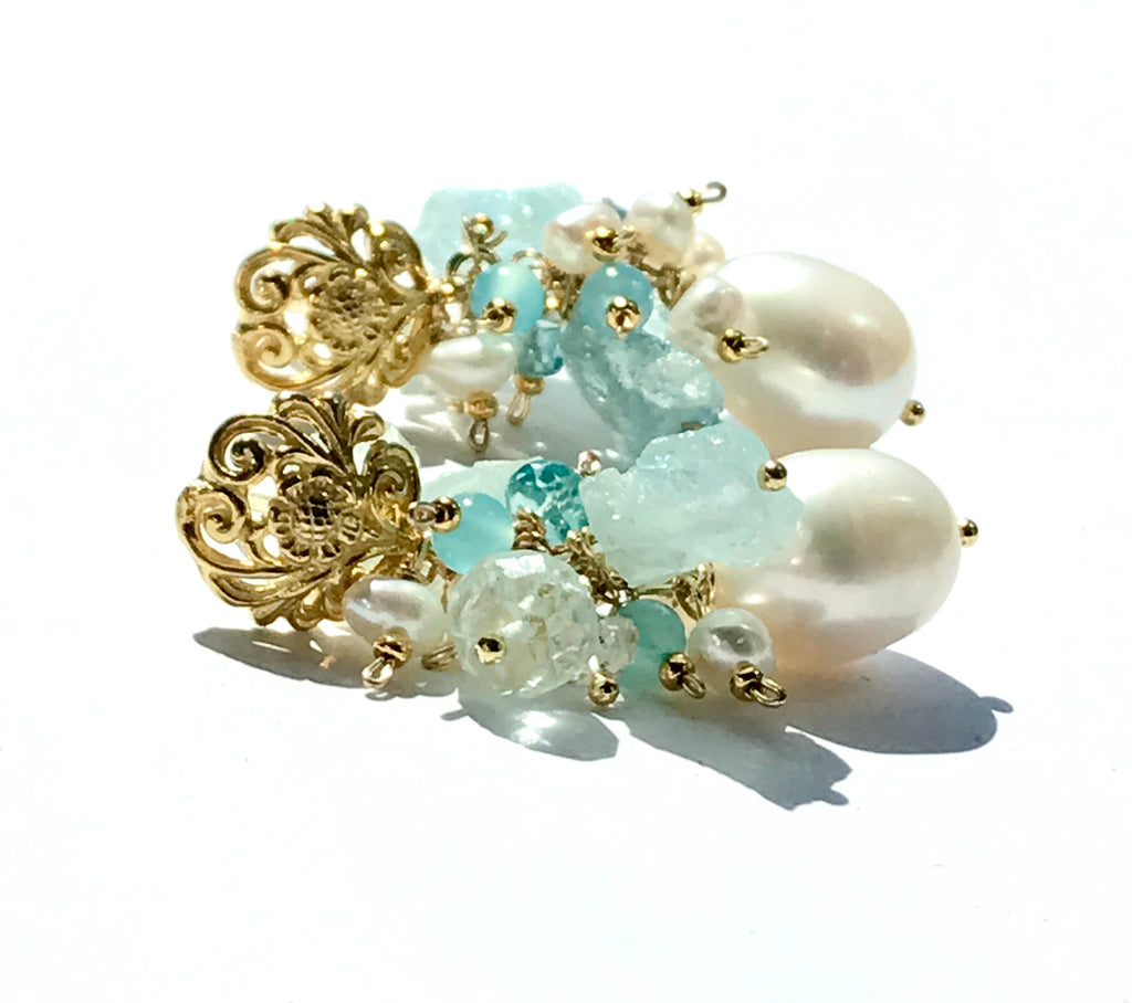 Aquamarine Gemstone Pearl Cluster Earrings Gold Post - doolittlejewelry