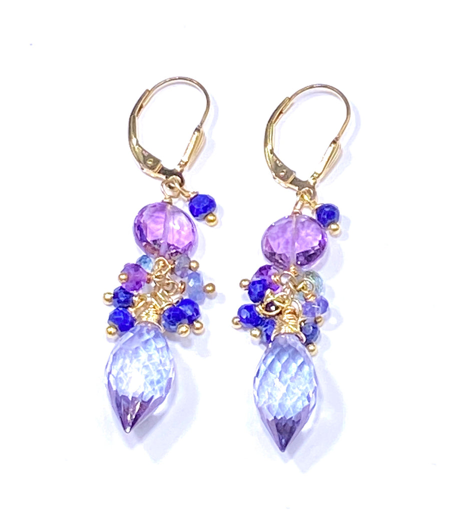 Blue Violet Pink Amethyst Cluster Earrings Gold Fill