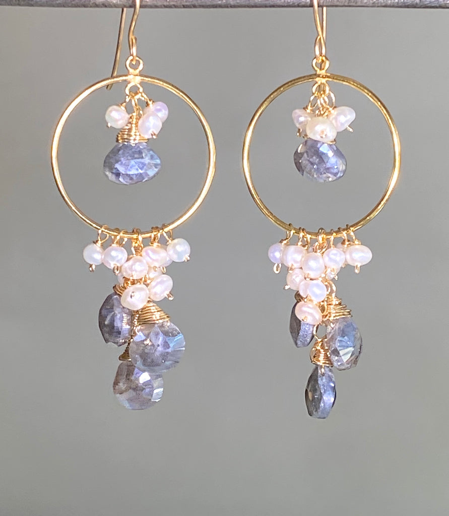 Mystic Grey Labradorite Gold Fill Hoop Earrings Pearl Cluster
