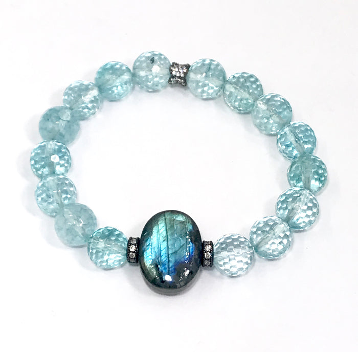 Labradorite and Blue Quartz Stretch Bracelet - doolittlejewelry