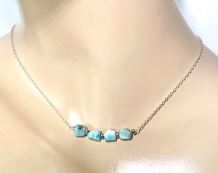 Larimar Raw Gemstone Nugget Bar Necklace - doolittlejewelry