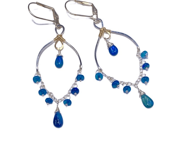 Blue Ethiopian Opal Chandelier Earrings Sterling Silver - doolittlejewelry