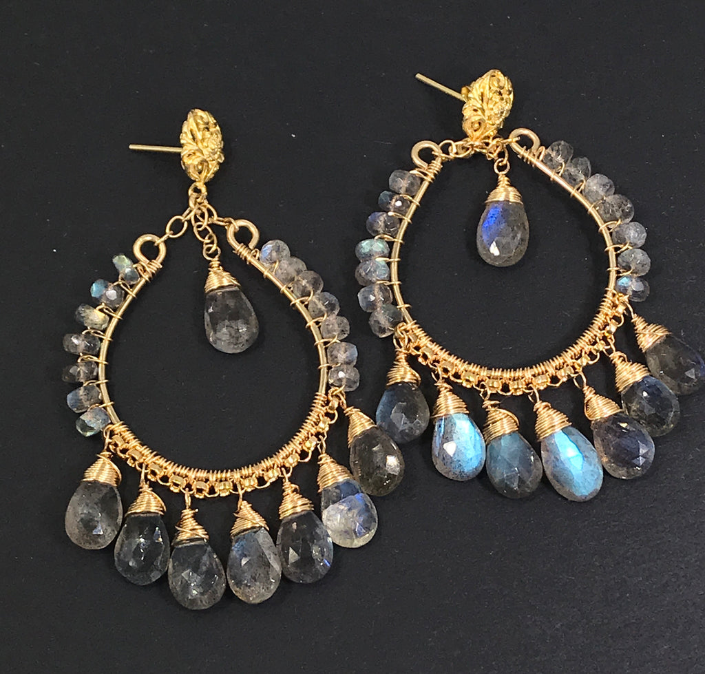 Labradorite Gold Chandelier Hoop Earrings - doolittlejewelry