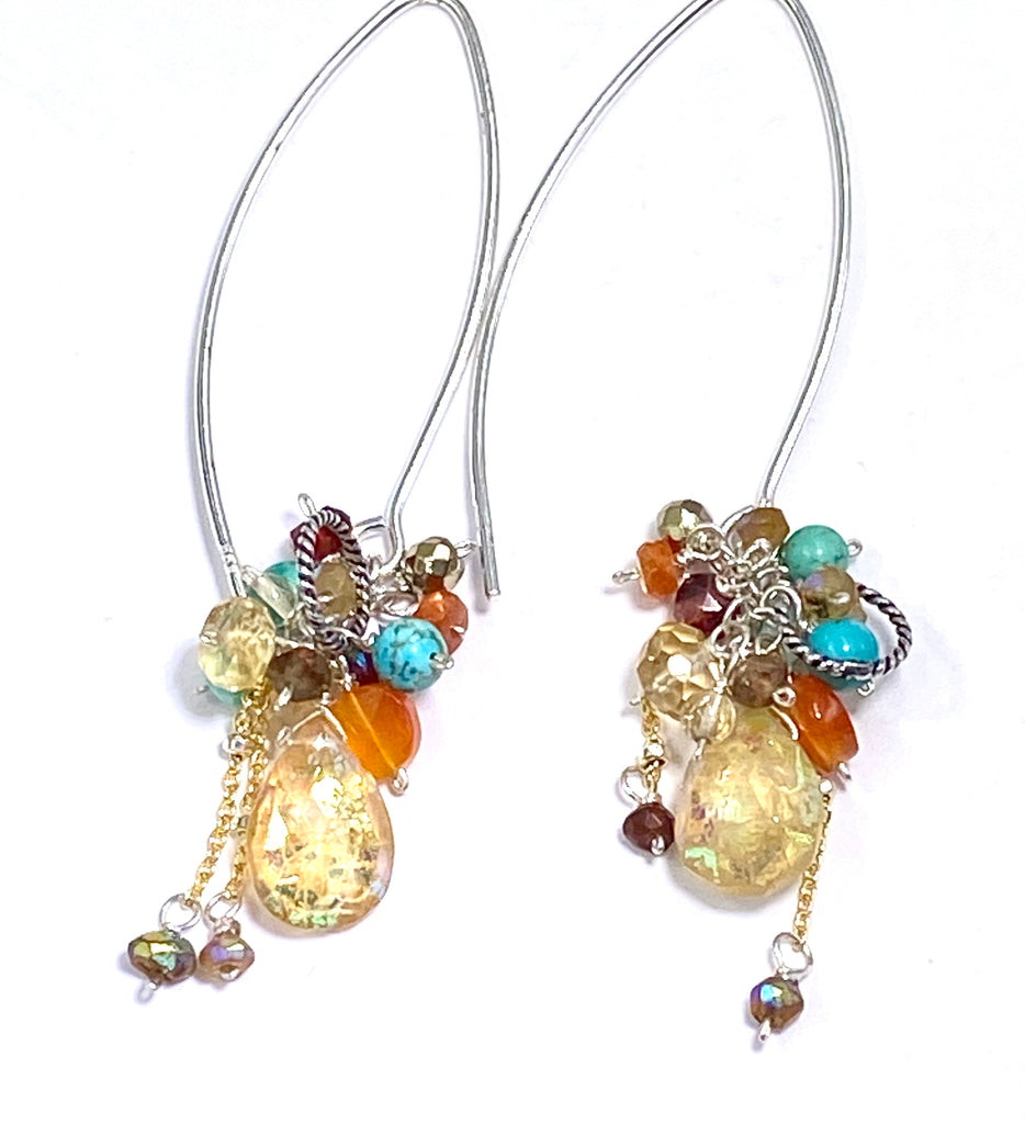 Mystic Citrine Earth Tone Gem Cluster Long Earrings Sterling Silver