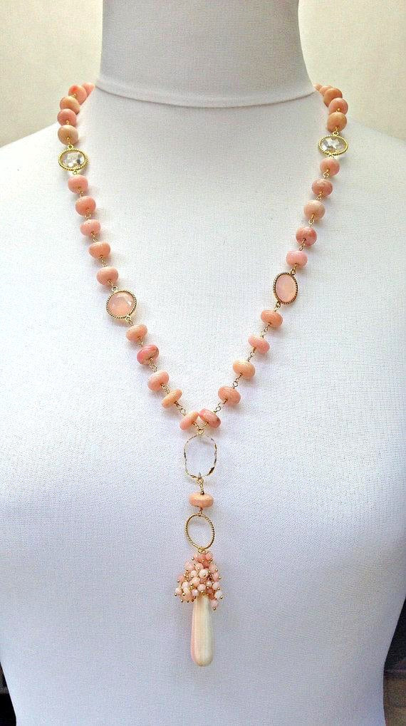Pink Peruvian Opal Long Wire Wrapped Necklace