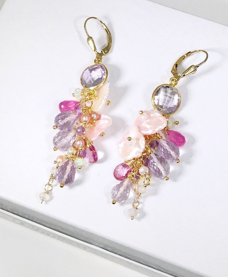 Keishi Pearl Pastel Pink Lavender Cascade Wedding Earrings