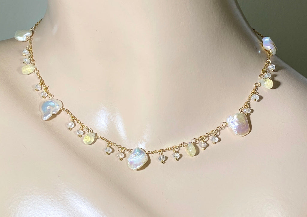 Keishi Pearl 24kt Gold Leaf Boho Dangle Necklace with Rainbow Moonstone - doolittlejewelry
