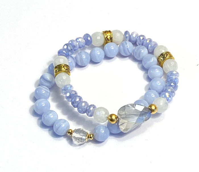 Periwinkle Blue Stack Bracelet Set of 2 Blue Lace Agate Mystic Lavender Moonstone
