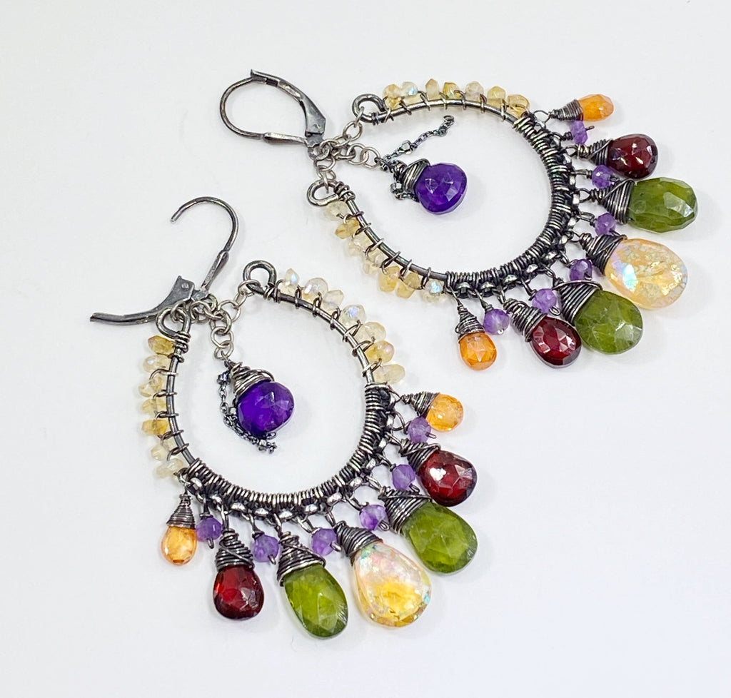 Multi Gemstone Boho Hoop Earrings Oxidized Silver Garnet, Vessonite, Mystic Citrine