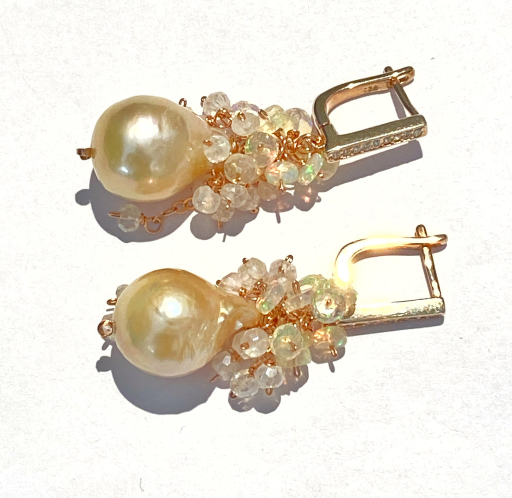 RESERVED Baroque Pearl Opal Cluster Earrings in Rose Gold