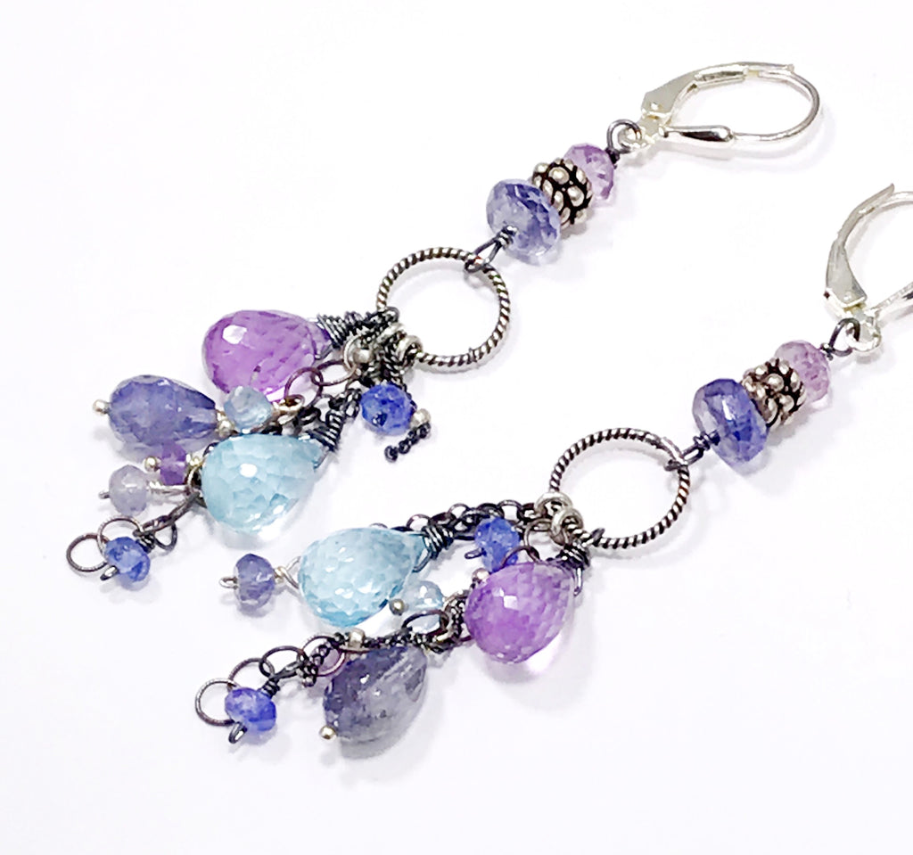 Blue Violet Boho Dangle Earrings Amethyst, Blue Topaz, Iolite, Oxidized Sterling Silver