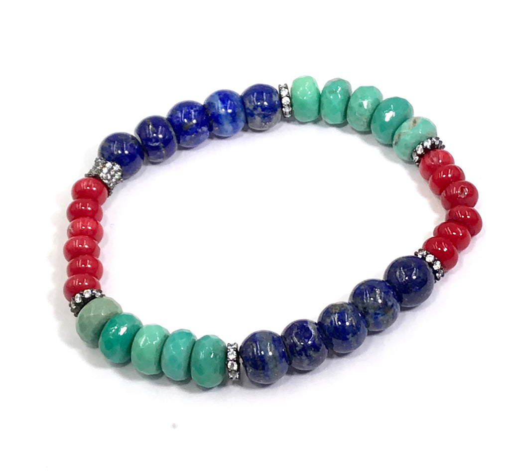 Red, Blue Green White Stack Bracelet Set of 3 Oxidized Silver Pave CZ - doolittlejewelry