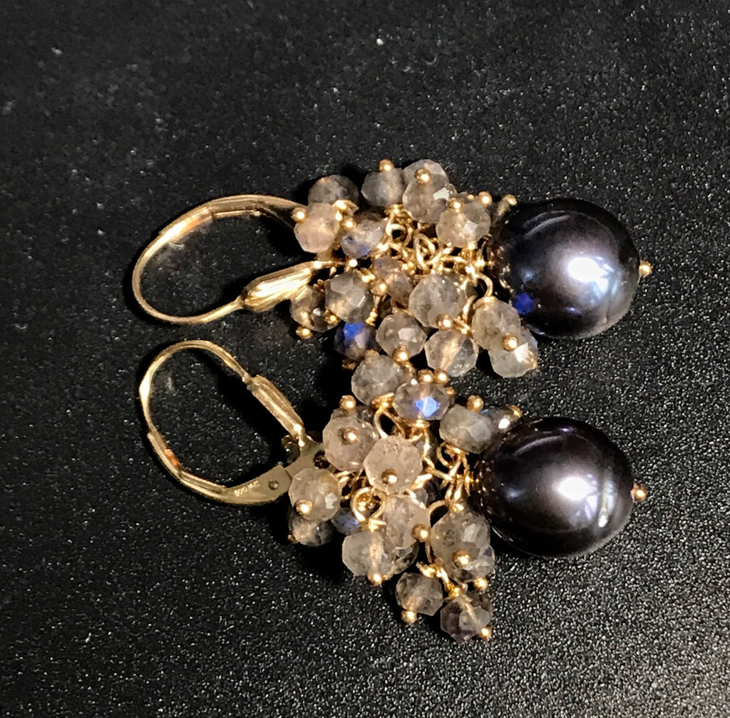 Black Baroque Pearl Labradorite Cluster Earrings in Gold Fill - doolittlejewelry