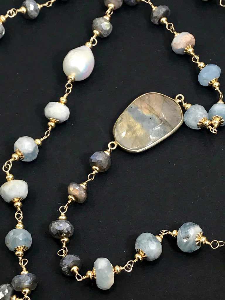 Aquamarine, Labradorite, Pearl Long Wire Wrapped Necklace - doolittlejewelry