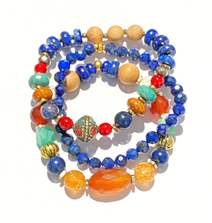 Stacking Bracelet Set of 3 Blue Lapis Chrysoprase Carnelian