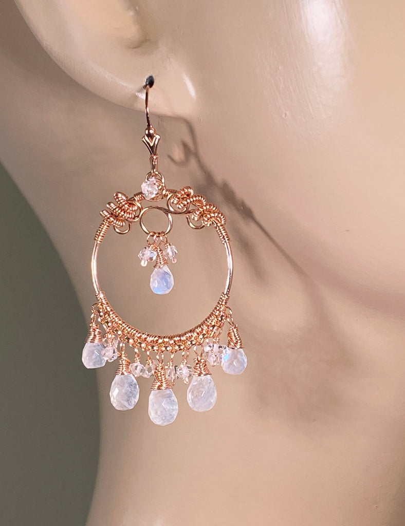 Rainbow Moonstone Rose Gold Hoop Earrings Herkimer Diamond - doolittlejewelry